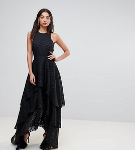 Read more about Y a s tall tiered maxi dress - black