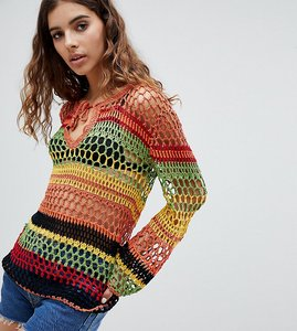 Read more about E l k crochet stripe jumper - multi