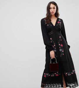 Read more about Asos design tall embroidered maxi dress with lace inserts