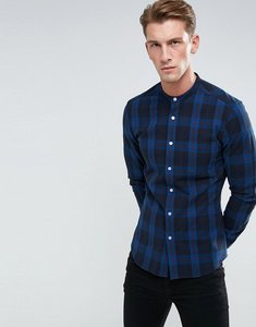 Read more about Asos skinny check shirt with grandad collar - navy