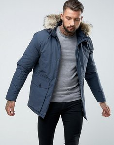Read more about Fred perry fishtail drawstring hooded parka with fur trim in dark blue - dark airforce