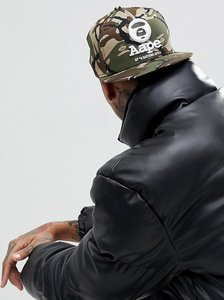 Read more about Aape by a bathing ape snapback cap with large logo - green