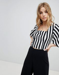 Read more about Miss selfridge balloon sleeve square neck stripe crop top - multi