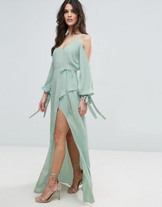 Read more about Asos cold shoulder long sleeve maxi dress - soft mint