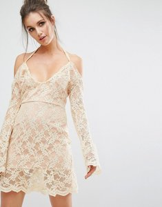 Read more about Missguided cold shoulder lace overlay dress - nude