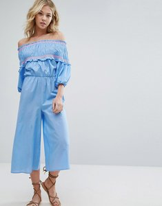 Read more about Asos off shoulder jumpsuit with shirring and embroidery - multi