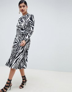 Read more about Asos design high neck cut out midi dress in zebra print with long sleeves