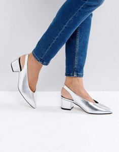 Read more about Truffle collection high topline sling mid heel shoes - silver pu
