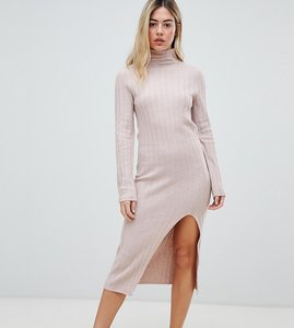 Read more about Micha lounge high neck knitted dress in soft rib - pink tan