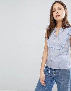 Read more about Glamorous stripe ruffle blouse - blue thin stripe