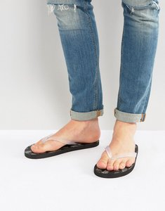 Read more about Asos flip flops in black with metallic pineapple print - black