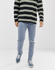 Read more about Asos design 12 5oz skinny jeans in light wash blue with knee rips