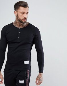 Read more about Religion long sleeve top with henley neck - black