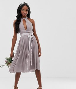 Read more about Tfnc tall pleated midi bridesmaid dress with cross back and bow detail in grey