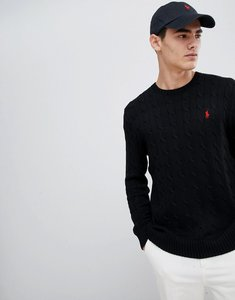 Read more about Polo ralph lauren cable cotton knit jumper with player logo in black - polo black