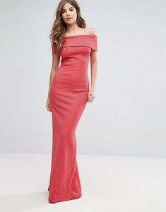 Read more about City goddess bandeau maxi dress with split detail - coral