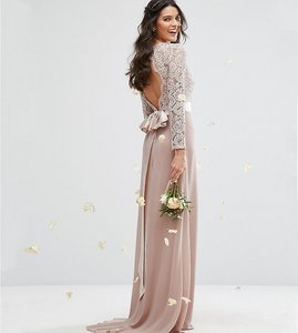 Read more about Tfnc lace maxi bridesmaid dress with bow back - mink