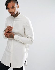 Read more about Asos regular fit super longline shirt in light grey - light stone