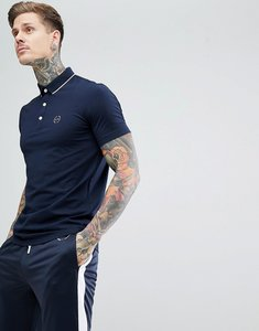 Read more about Armani exchange slim fit tipped collar logo polo in navy - 1510