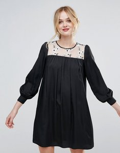 Read more about Traffic people smock dress with floral embroidered panel - black