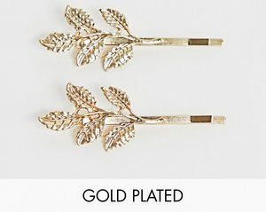 Read more about Johnny loves rosie leaf hair clips - gold