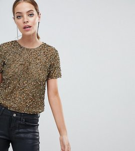 Read more about Asos design petite t-shirt with sequin embellishment - khaki green