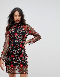 Read more about Club l high neck red rose embroidered dress - black