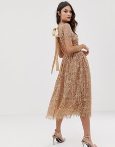 Read more about Asos design lace midi dress with ribbon tie and open back