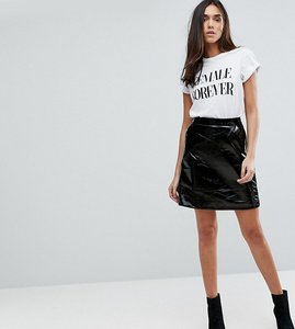 Read more about Warehouse patent leather look a-line mini skirt - black