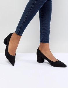 Read more about Bershka pointed block heel shoe - black