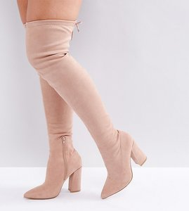 Read more about Asos karma wide fit pointy over the knee boots - nude