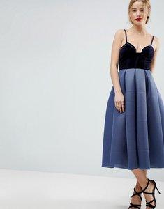 Read more about Asos premium airtex velvet bodice midi prom dress - midnight blue