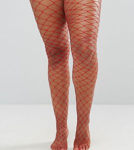 Read more about Asos curve oversized fishnet tights red - red
