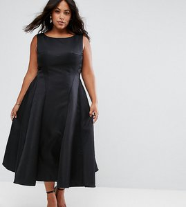 Read more about Chi chi london plus fit and flare midi dress with seam detail - black