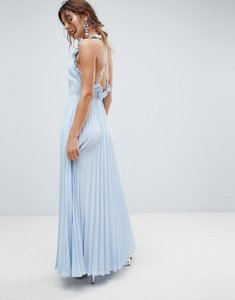 Read more about Asos pleated maxi dress with ruffle open back - pale blue