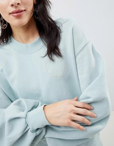 Read more about Selected femme sweatshirt with metallic embroidery - green