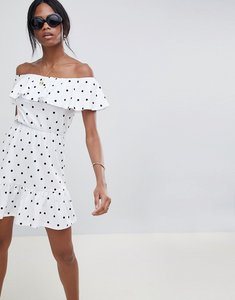 Read more about Asos design off shoulder sundress with tiered skirt in polka dot - white black
