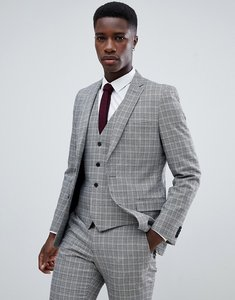 Read more about French connection heritage prince of wales check slim fit suit jacket - grey