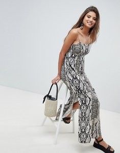 Read more about Asos design smock pleated maxi dress in snake print - multi
