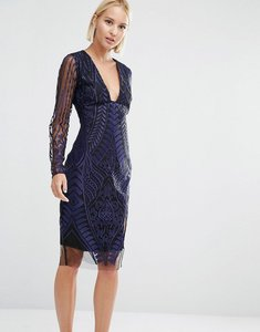Read more about Lavish alice embroidered mesh deep plunge side split midi dress - navy