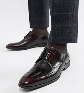 Read more about Asos design wide fit brogue shoes in burgundy leather - burgundy