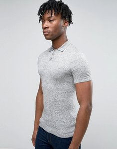 Read more about Asos muscle fit knitted polo shirt in grey slub cotton - light grey slub