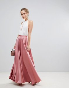 Read more about Asos satin maxi skirt with centre front split - rose