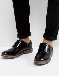 Read more about Base london turner leather hi shine brogue shoes in black - black