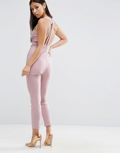 Read more about Asos sculpt me plunge jumpsuit with back detail - dusty pink