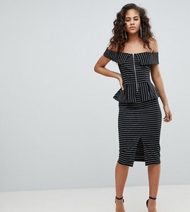 Read more about Asos design tall bardot pencil dress with peplum and zip detail in pinstripe - multi