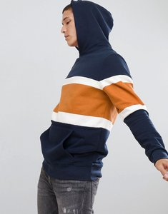 Read more about Pull bear colour block hoodie in navy - navy