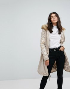 Read more about Glamorous oversized parka jacket with fur hood and embroidery - stone