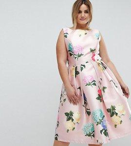 Read more about Chi chi london plus printed satin midi dress - multi floral