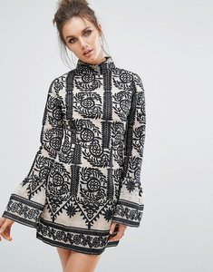 Read more about Missguided contrast lace frill sleeve shift dress - black